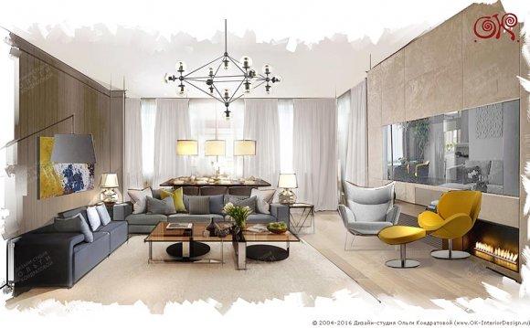 Дизайн гостиной в квартире в