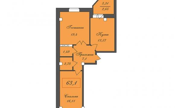 План-схема 2-х комнатной